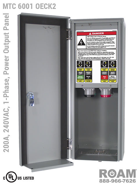 MTC 6001 OECK2 - 200A/240VAC - 1-Phase - Power Output Panel - Connection Panel - Tap Box - Docking Station - Compact - Front View - Door Open - Single-Phase Power Output Interface Box - 120VAC, 208VAC, 230VAC, & 240VAC - 240v (120v, 208v, 230v, & 240v) - 200 Amp - Door Open - Showing E1016 (J-Series/16-Series) Female Cam-Lok Connectors - Cam-Lock Power Output Panel - MTC6001OECK2 - UL/cUL Listed