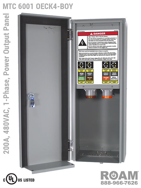 MTC 6001 OECK4-BOY - 200A/480VAC - 1-Phase - Power Output Panel - Connection Panel - Tap Box - Docking Station - Compact - Front View - Door Open - Single-Phase Power Output Interface Box - 277VAC, 330VAC, 440VAC, & 480VAC - 480v (277v, 330v, 440v, & 480v) - 200 Amp - Door Open - Showing E1016 (J-Series/16-Series) Female Cam-Lok Connectors - Cam-Lock Power Output Panel - MTC6001OECK4-BOY - UL/cUL Listed