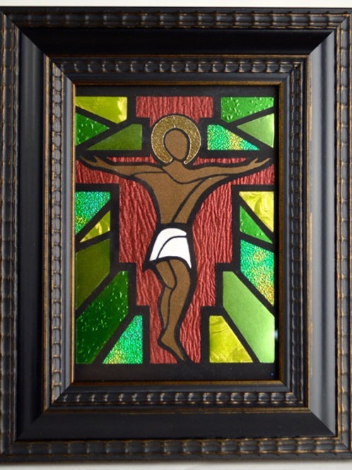 Crucifixion - Green background with Cherry cross and Brown skin