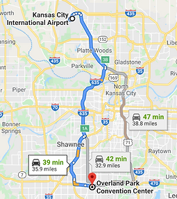 Map from Kansas City International Airport known as MCI to VISION Hi-Tech Training & Expo at the Overland Park Convention Center in Overland Park, Kansas.