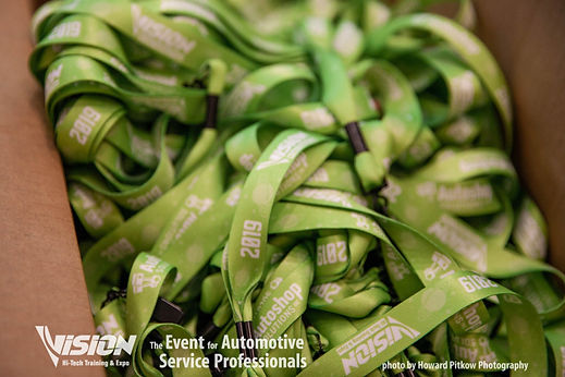 VISION Hi-Tech Training & Expo's lanyards sponsored by Autoshop Solutions.