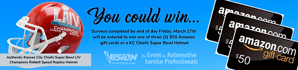 Complete the VISION Hi-Tech Training & Expo survey to win a $50 Amazon gift card or an authentic Kansas City Chiefs Super Bowl LIV Champions Riddell Speed Replica Helmet.