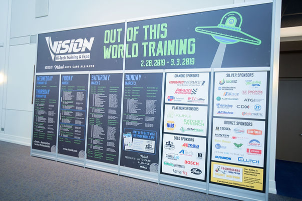 VISION Hi-Tech Training & Expo's agenda with sponsors.