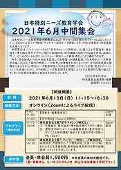 日本特別ニーズ教育学会2021年6月中間集会チラシ20210514(アドレス変更