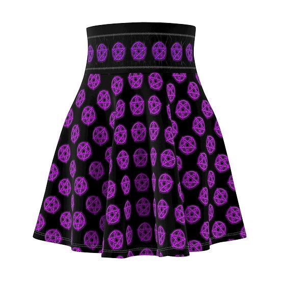 Gothic Graffiti™ Glowing Pentagram Skater Skirt (Purple)