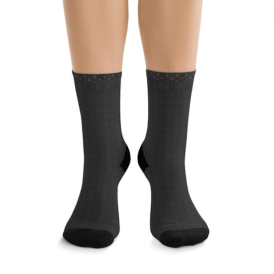 Gothic Graffiti™ Charcoal Illusion Knit Witchy Forest Socks