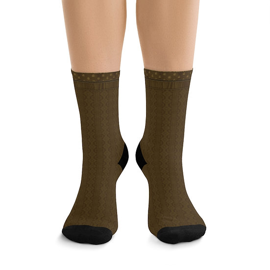 Gothic Graffiti™ Golden Illusion Knit Witchy Forest Socks