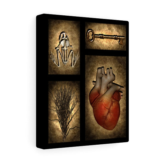"""Gothic Graffiti™ """"Favorite Things: Frog & Heart"""" on Canvas"""