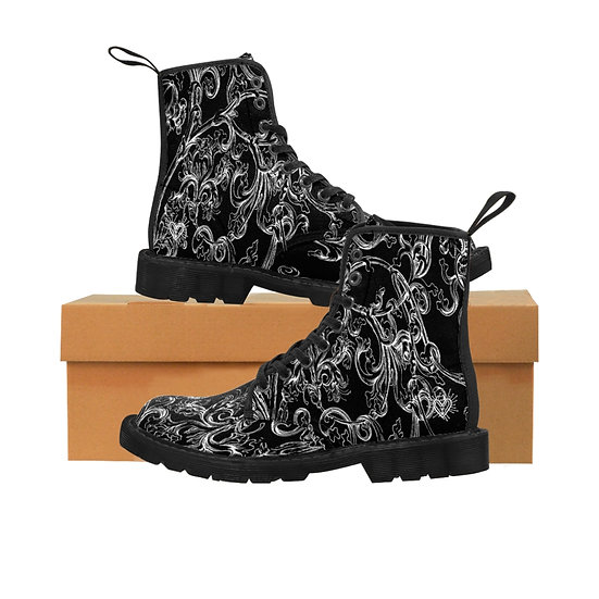 "Gothic Graffiti™ ""Vintage Scroll"" (Black & White) Women's Canvas Boots"