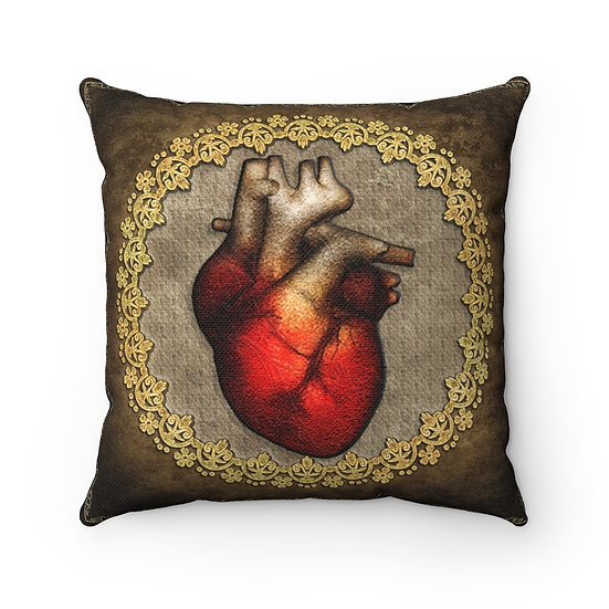 Gothic Graffiti™ Anatomical Heart Antiqued Square Pillow