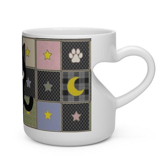 "Gothic Graffiti™ ""Kitty Majik"" Heart Shape Mug"