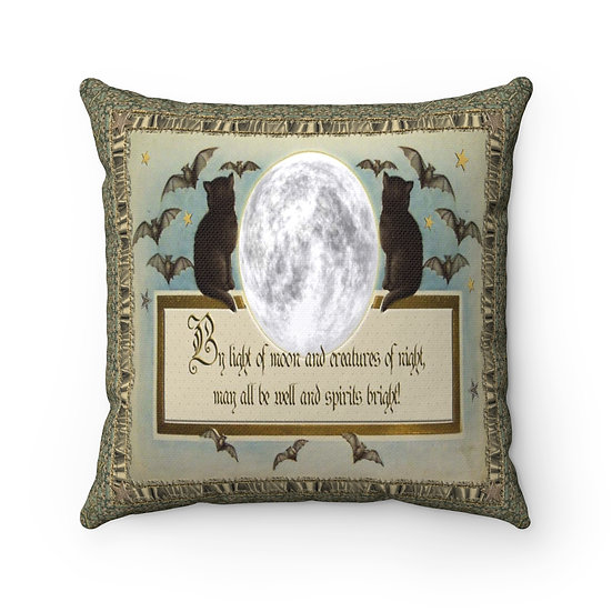 """""""By Light of Moon"""" Spun Polyester Square Pillow"""