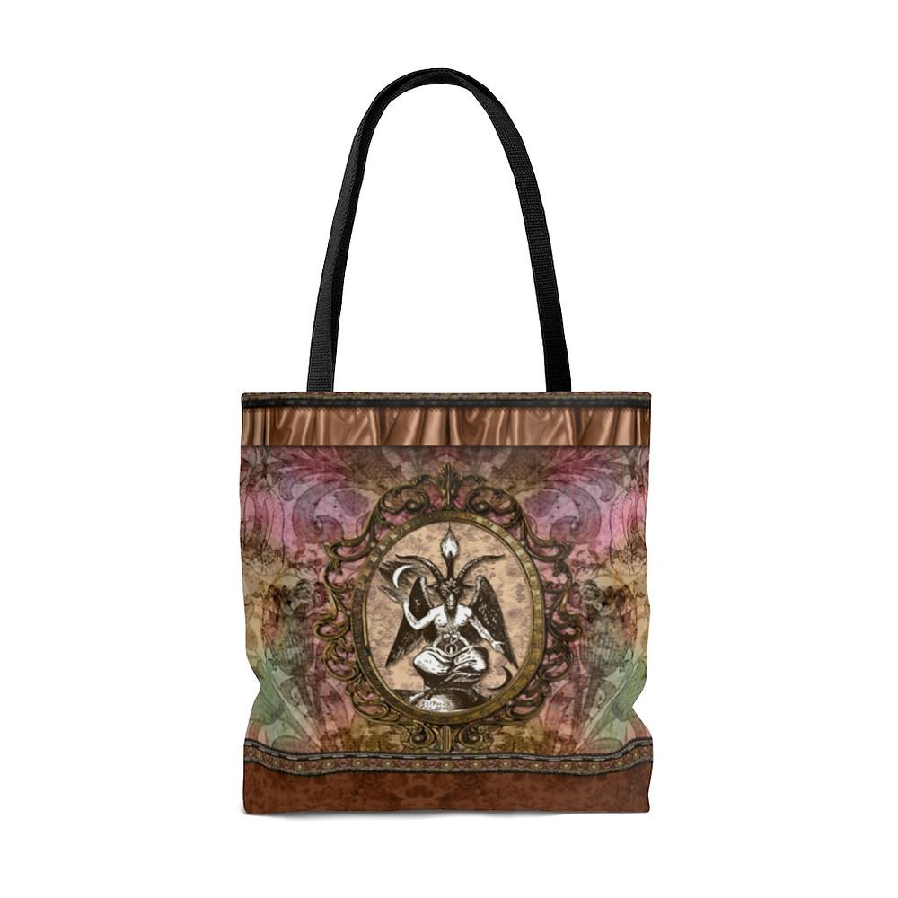 Retro Floral Baphomet Tote Bag