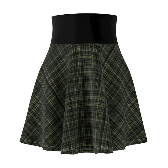Gothic Graffiti™ Olive Plaid Skater Skirt