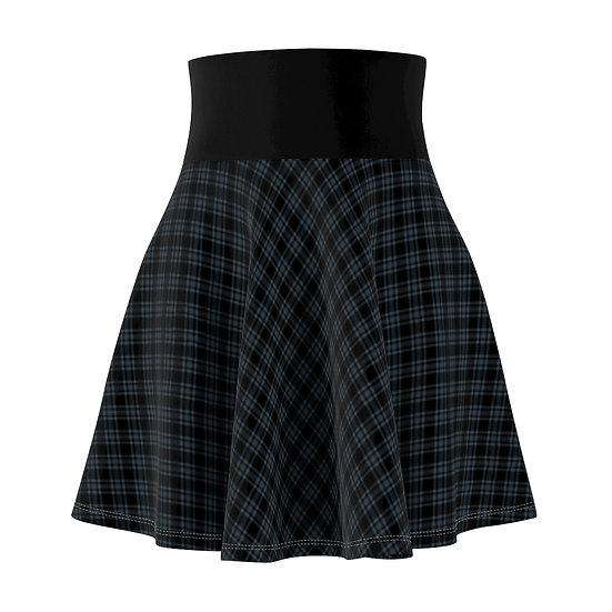 Gothic Graffiti™ Navy Diagonal Plaid Skater Skirt