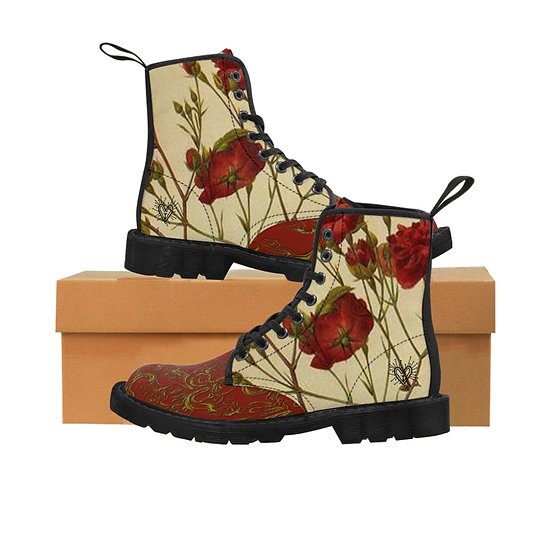 "Gothic Graffiti™ ""Wild Roses"" Women's Canvas Boots"