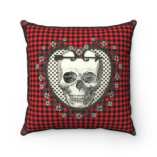 Gothic Graffiti™ Royal Plaid Skull Square Pillow