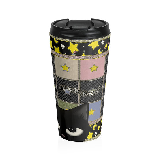 "Gothic Graffiti™ ""Kitty Majik"" Patchwork Stainless Steel Travel Mug"