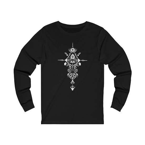 Gothic Graffiti™ Floral Hexe Monochrome Unisex Jersey Long Sleeve Tee