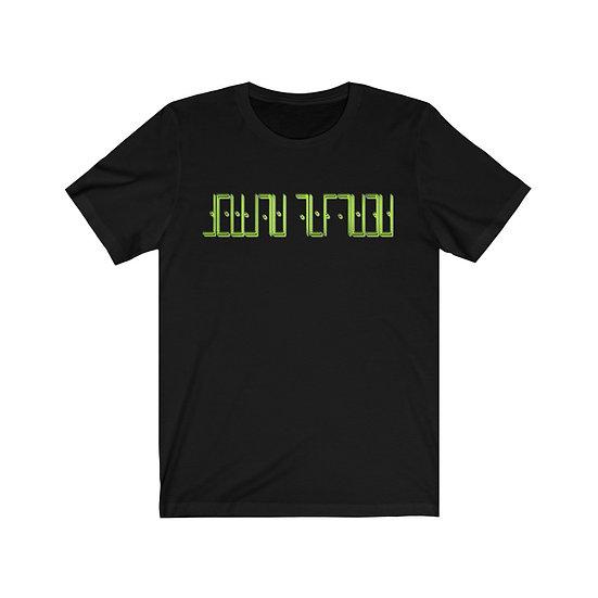 "Gothic Graffiti™ ""Create Thyself"" Cipher Unisex T-shirt (neon green on black)"
