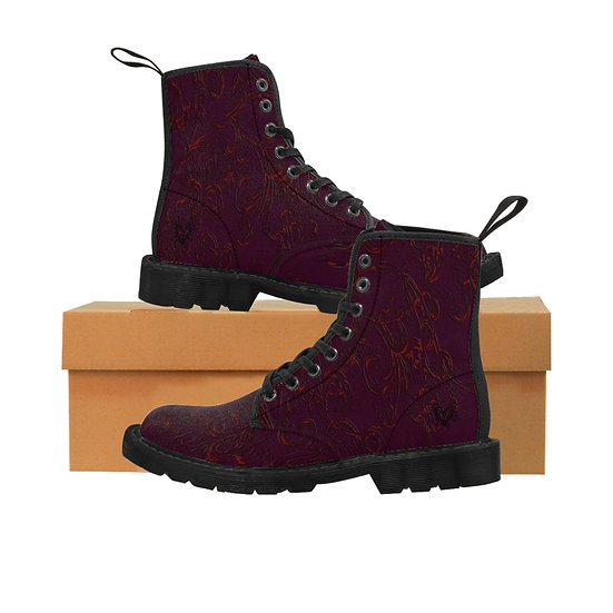 """Gothic Graffiti™ """"Electric Vines"""" (Blood & Wine) Women's Canvas Boots"""
