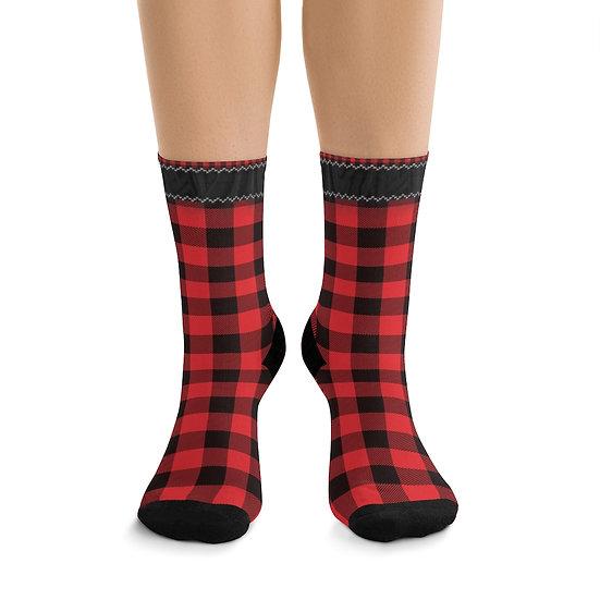 Gothic Graffiti™ Red & Black Plaid Socks
