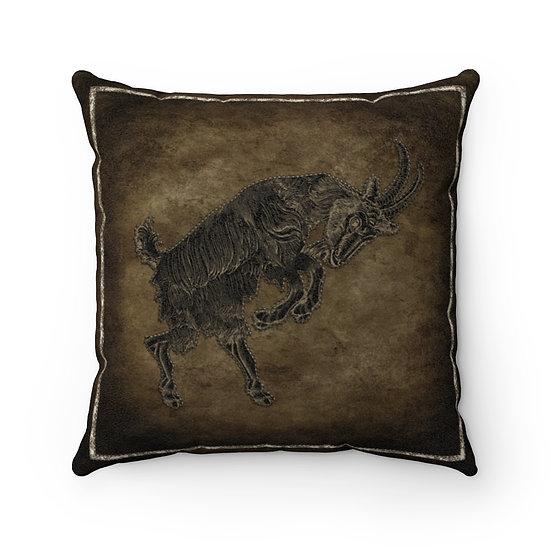 """Goat Dance Faux Suede 20"""" Square Pillow"""