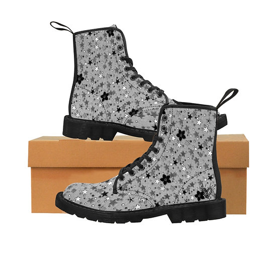 """Starflower"" Monochromes Black on White Women's Canvas Boots"