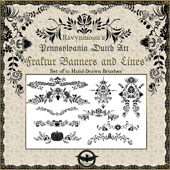 Ravynmoon Fraktur Banners and Lines Brush Set