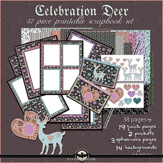 Celebration Deer 57Piece Printable Scrapbook Set
