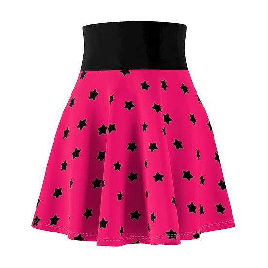 Gothic Graffiti™ Hot Pink & Black Stars Skater Skirt