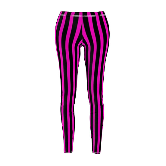 "Gothic Graffiti™ ""It's Showtime"" Vertical Stripe Leggins (black/hot pink)"