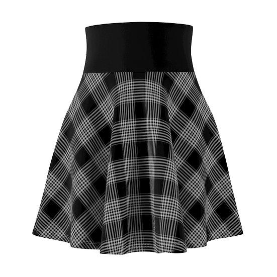 Gothic Graffiti™ Black & White Plaid Skater Skirt