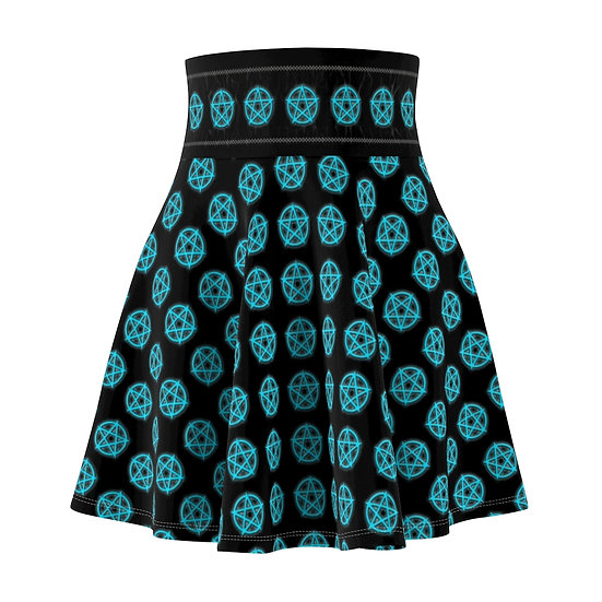Gothic Graffiti™ Glowing Pentagram Skater Skirt (Electric Blue)