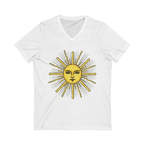 "Gothic Graffiti™ ""The Sun"" Unisex Jersey Short Sleeve V-Neck Tee"