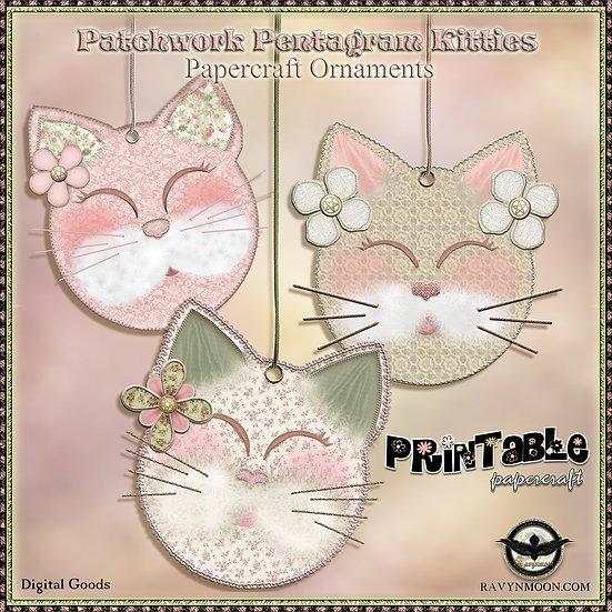 Patchwork Pentagram Kitty Papercraft Ornaments