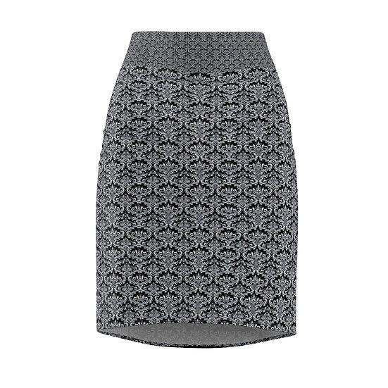 Gothic Graffiti™ Black & White Damask Pencil Skirt