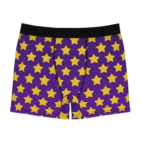 Gothic Graffiti™ Men's Purple Yellow Stars Boxer Briefs