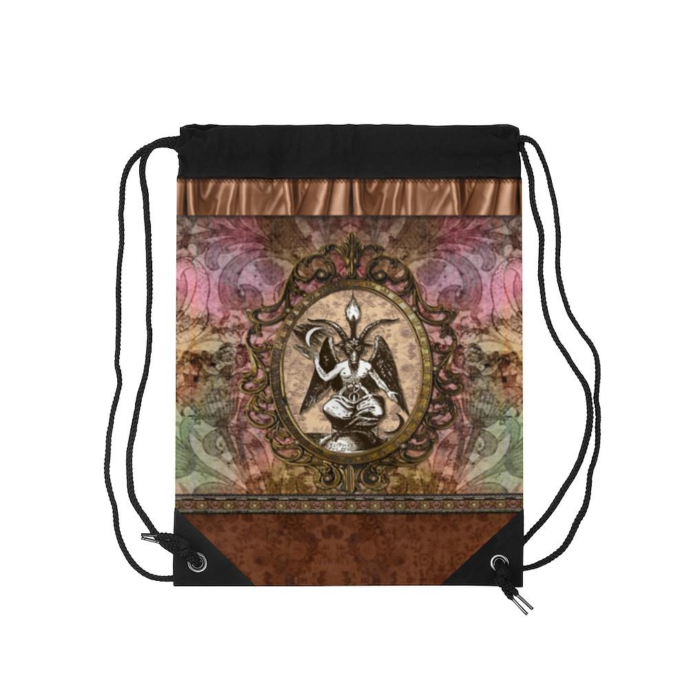 Retro Floral Baphomet Drawstring Bag