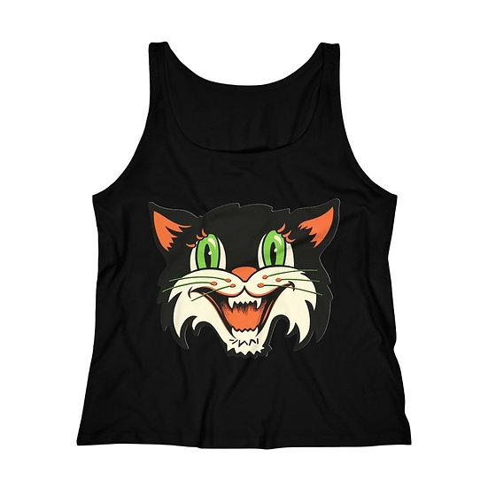 """Vintage Halloween Cat Head"" Women's Relaxed Jersey Tank Top"