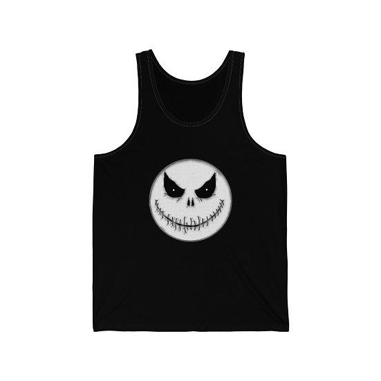 """Spooky Moon Halloween Face"" Unisex Jersey Tank"