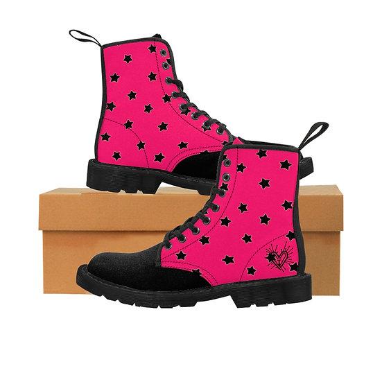 Gothic Graffiti™ Hot Pink & Black Stars Women's Canvas Boots
