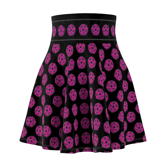 Gothic Graffiti™ Glowing Pentagram Skater Skirt (Hot Pink)