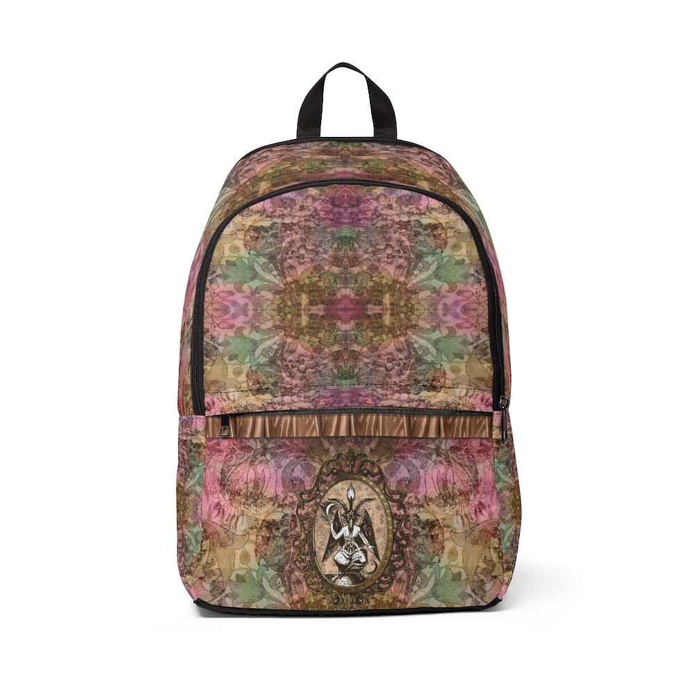 Retro Floral Baphomet Unisex Fabric Backpack