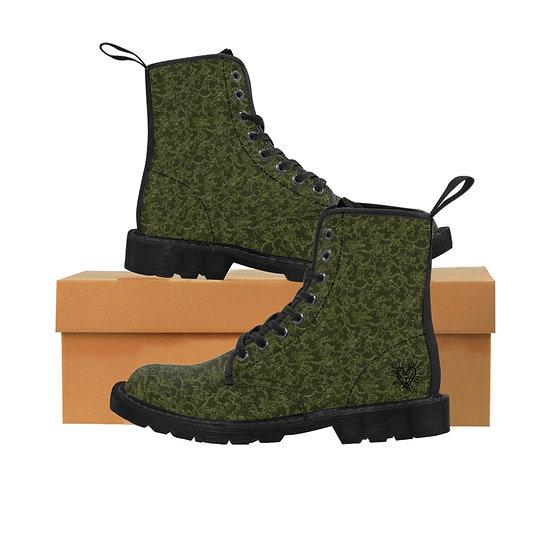 Gothic Graffiti™ Mossy Green Women's Canvas Boots