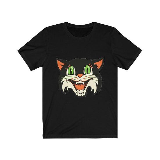 """Vintage Halloween Cat Head"" Unisex Jersey Short Sleeve Tee"