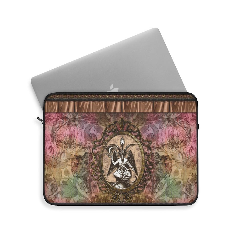 Retro Floral Baphomet Laptop Sleeve