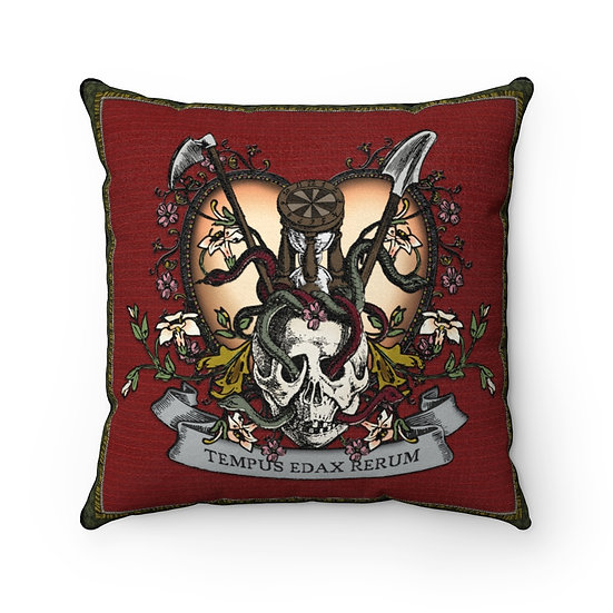 "Gothic Graffiti™ ""Memento Mori: Time Devours All Things"" Faux Suede Pillow"