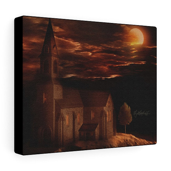 """Gothic Graffiti™ """"Blood Moon Over Melrose Abbey"""" 10x8 Canvas"""