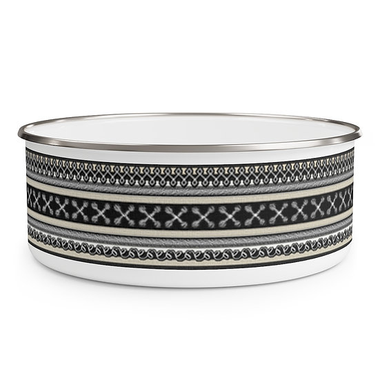 "Gothic Graffiti™ ""Vintage Striped"" Enamel Bowl"